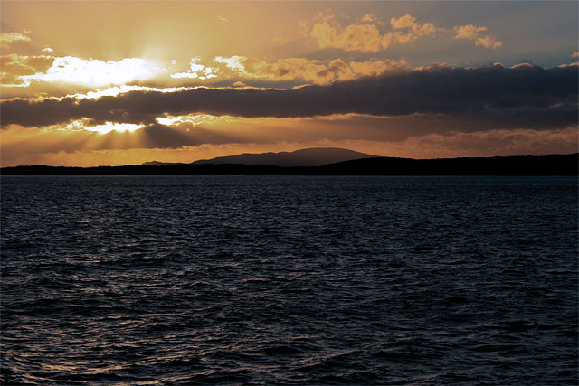 Sunset at 11:00 p.m. in the Beagle Channel. We'll enter the Drake Passage at about 3:00 a.m. I pull myself into the top bunk and drift off to sleep, comforted by the low diesel thrum of the engines.