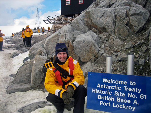 Me at Port Lockroy. Situated in a natural harbor, Port Lockroy was discovered in 1903 by a French exploration team and used as a whaling base. During World War II, it was used by the British military during Operation Tabarin.