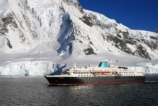 One of only two ships we'll see in Antarctica, the Explorer II has been renamed Minerva. She's carries about 200 passengers and is all about comfort. (I prefer the smaller Shokalskiy.)