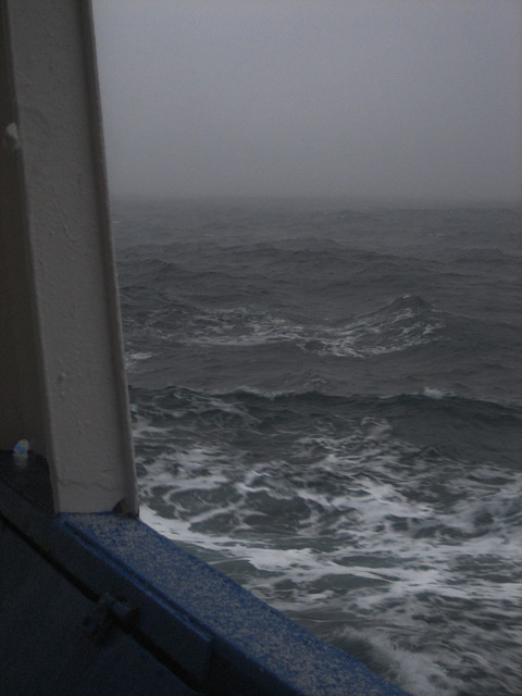 We've left Antarctica behind and are sailing for Ushuaia. The Bransfield Strait is unsettled and the ship rolls in the choppy waves.
