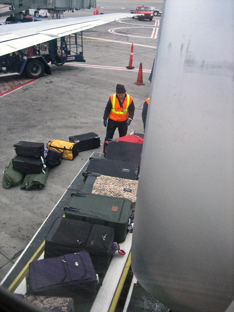 We've arrived in Minneapolis. And there's my luggage, that green one in the middle. It's made it all the way from Antarctica!